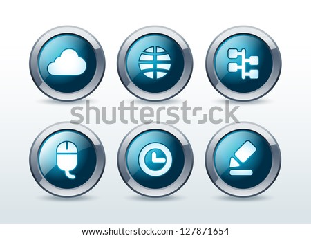 Web buttons icon set vector illustration - stock vector