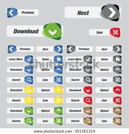 Web buttons with various color, high quality vector graphic EPS10