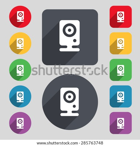 Web cam icon sign. A set of 12 colored buttons and a long shadow. Flat design. Vector illustration - stock vector