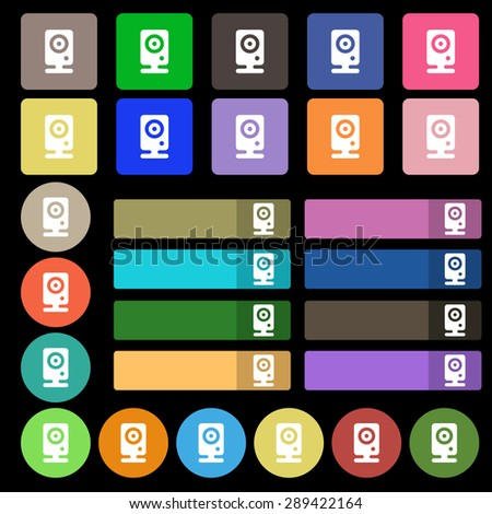 Web cam icon sign. Set from twenty seven multicolored flat buttons. Vector illustration - stock vector