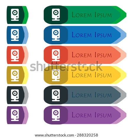 Web cam icon sign. Set of colorful, bright long buttons with additional small modules. Flat design. Vector - stock vector