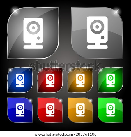 Web cam icon sign. Set of ten colorful buttons with glare. Vector illustration - stock vector