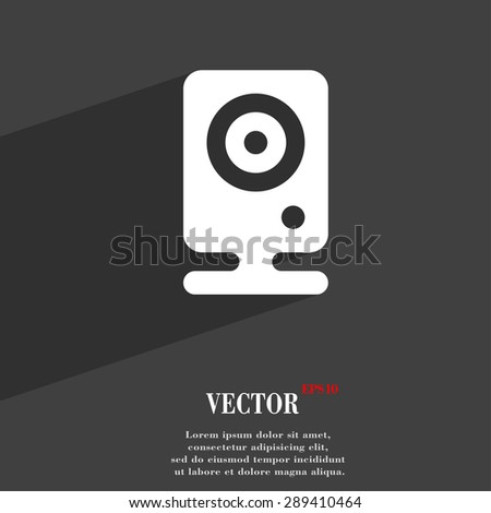Web cam icon symbol Flat modern web design with long shadow and space for your text. Vector illustration - stock vector