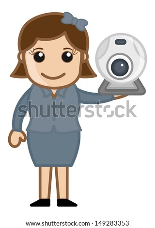 Web Cam - Security and Video Chat Concept - Business Cartoons