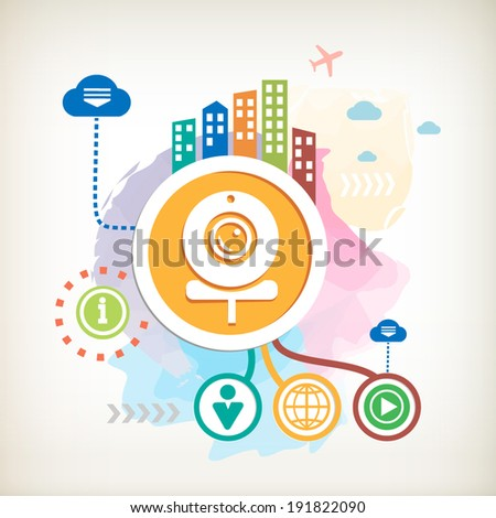 Web Camera and city on abstract colorful watercolor background  - stock vector