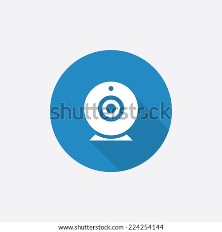 web camera Flat Blue Simple Icon with long shadow, isolated on white background   - stock vector