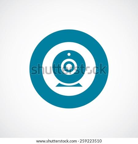 web camera icon bold blue circle border, white background   - stock vector