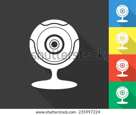 web camera icon - gray and colored (blue, yellow, red, green) vector illustration with long shadow - stock vector
