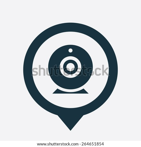 web camera icon map pin on white background  - stock vector