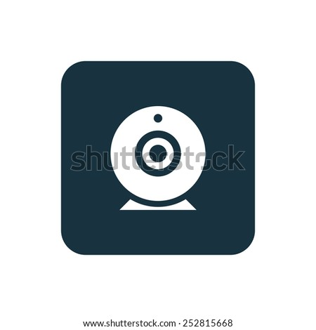 web camera icon Rounded squares button, on white background  - stock vector
