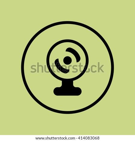 web camera icon, web camera symbol, web camera vector, web camera eps, web camera image, web camera logo, web camera flat, web camera art design, web camera green ring  - stock vector