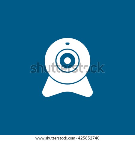 Web Camera Line Icon On Blue Background