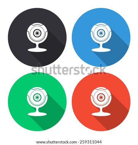web camera vector icon - colored(gray, blue, green, red) round buttons with long shadow - stock vector