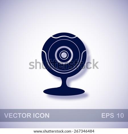 web camera vector icon - dark blue illustration with blue shadow - stock vector