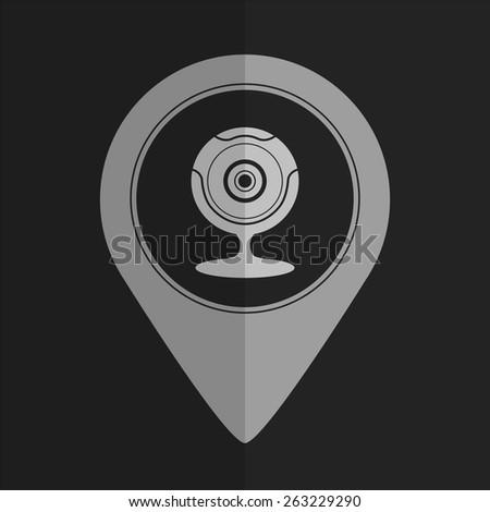 Web camera vector icon - map pointer. Flat design - stock vector