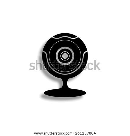 web camera vector icon with shadow - stock vector