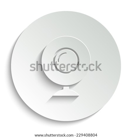 web camera  - vector icon with shadow on a round button - stock vector
