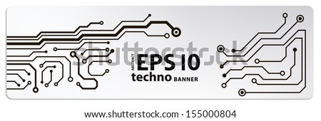 web circuit board techno banner. eps10 vector illustration  - stock vector