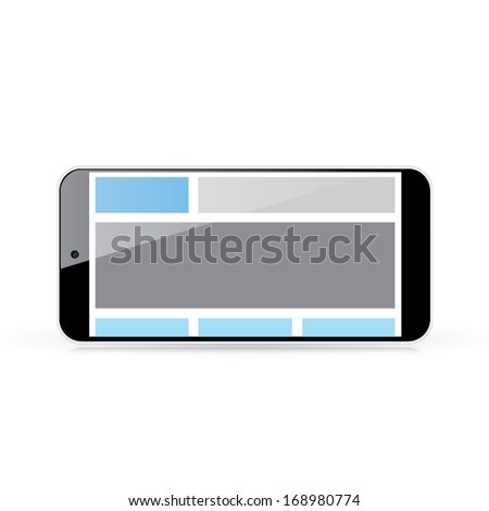 Web coding concept - responsive html and css web design in horizontal smart phone - stock vector