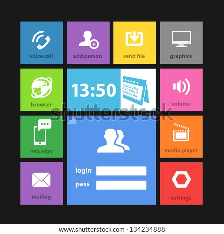 Web color tile interface template with modern icons - stock vector