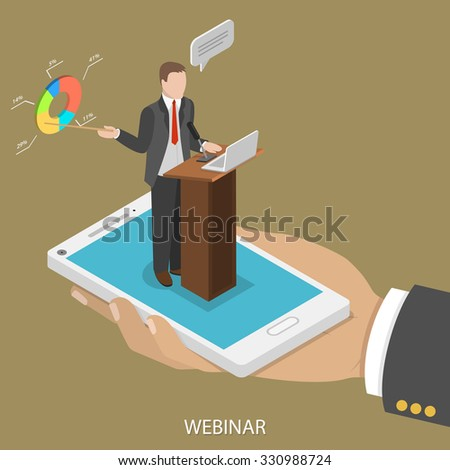 Web conference flat isometric vector concept. Man's hand takes a smartphone with webinar speaker on it. - stock vector