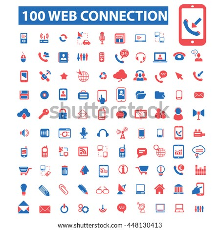 web connection icons, signs vector