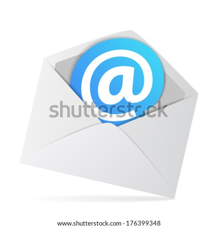 Web contact and business newsletter concept with an email envelope and at symbol on a blue sticker label. Vector EPS10 illustration isolated on white background.