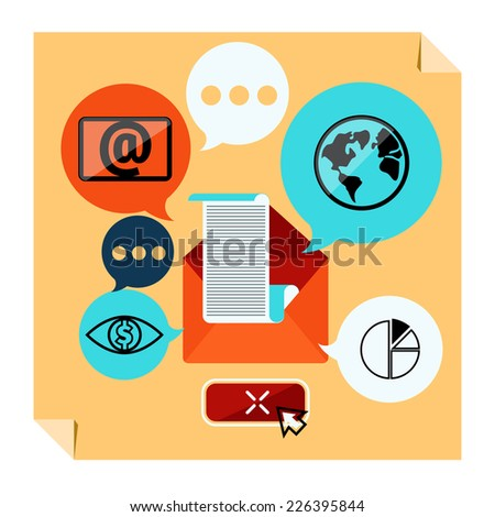 Web contact and business newsletter concept with an email envelope and symbols of chart global dollar eye. Regularly distributed news publication e-mail with some topics of interest to its subscribers - stock vector