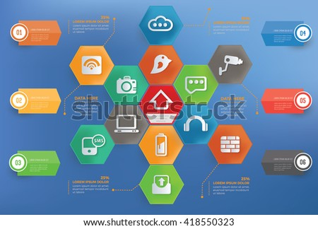 Web data concept info graphic design on blue background,vector