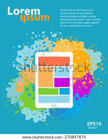 Web design and app application development creative color illustration. Abstract concept. Booklet poster cover and banner layout template - stock vector