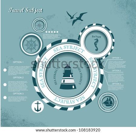 web design bubble, voyage subject - stock vector