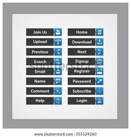 Web Design buttons Theme - stock vector