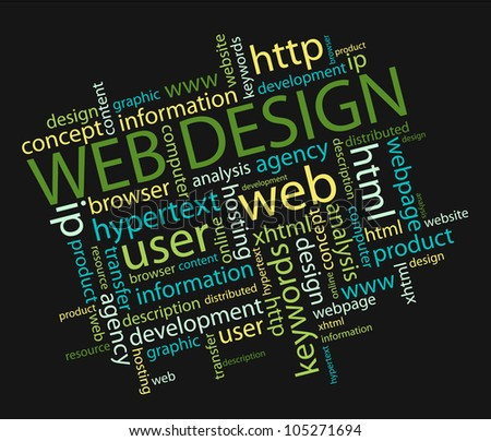 web design concept in a wordcloud, Vector illustration