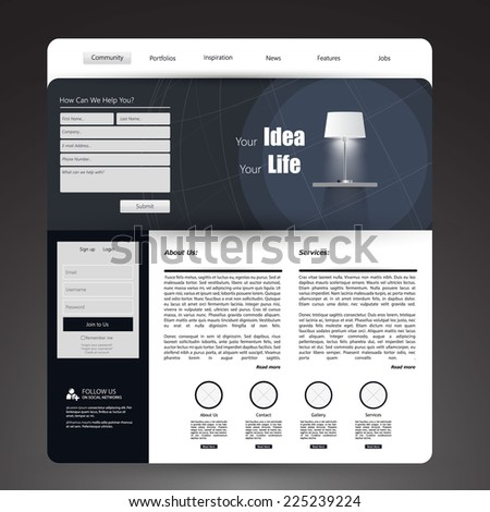 Web Design, elements, buttons, icons. Templates for website.  - stock vector