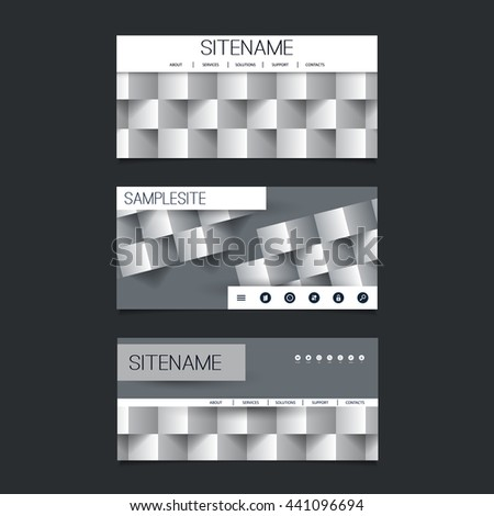 Web Design Elements - Header Design Set with Black and White Abstract 3D Cubic Pattern Background - stock vector