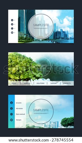 Web Design Elements - Header Designs with Nice Image Background - stock vector