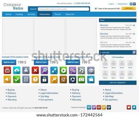 Web design elements set. Online shop. Vector illustration - stock vector