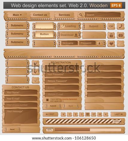 Web design elements set wooden. Vector - stock vector