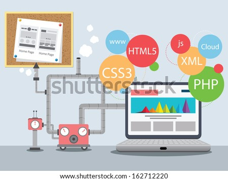 Web Design Factory - stock vector