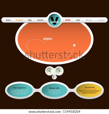 Web design for portfolio or slides - stock vector