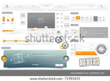Web Design multimedia GUI elements set. - stock vector