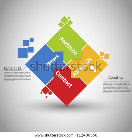 Web design. One two three four - vector paper progress steps for - stock vector