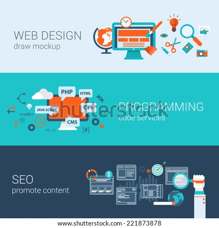 Web design programming SEO concept flat web banners template set vector illustration website infographics elements. Process webdesign mockup program code php html javascript cms search optimization. - stock vector