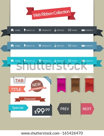Web design Ribbon Collection - stock vector