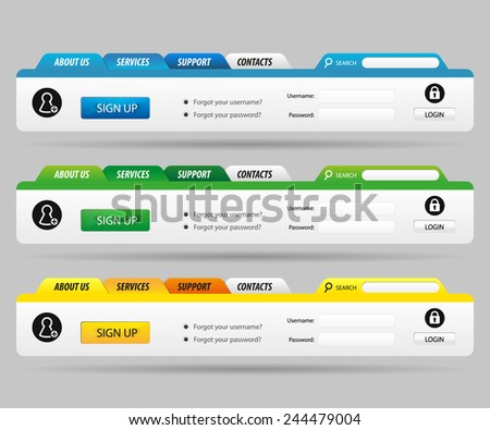 Web Design Template Navigation Menu with Register and Login interface - stock vector