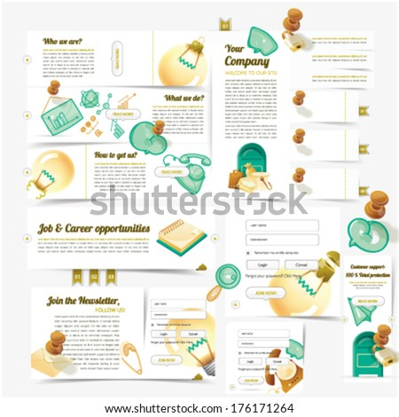 Web design template navigation set with colorful icon set - stock vector