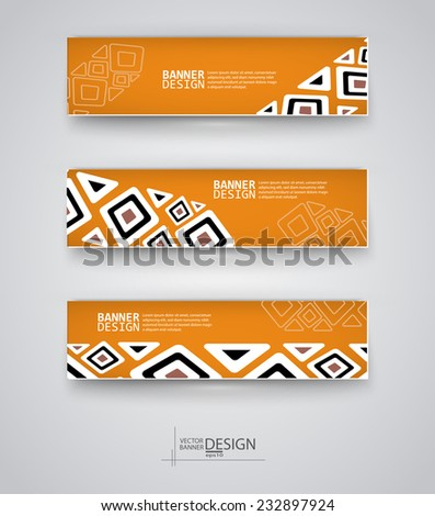 Web design templates. Set of Banners with Ethnic Backgrounds. Geometric  Abstract Modern Vector Illustration. - stock vector