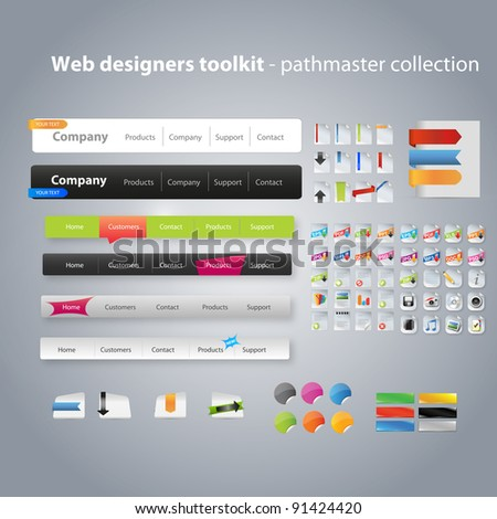 Web design toolkit including icons and navigation menus - stock vector