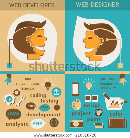 Web designers and web developers.  - stock vector