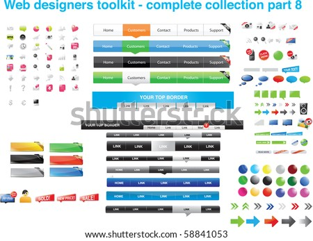 Web designers toolkit - complete collection part 8 - stock vector